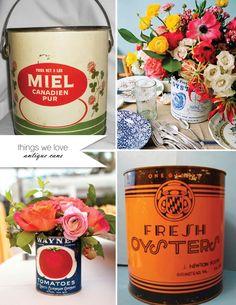 vintage cans for flower arrangements Vintage Flower Arrangements, Vintage Flowers, Wedding Planner, Destination Wedding, Wedding Day, Nebraska Wedding, Our Love, Event Planning, Real Weddings