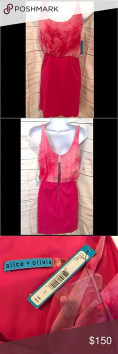 """NWT Alice + Olivia shades of pink dress NWT Alice + Olivia shades of pink dress.  Absolutely gorgeous and brand new!  Top is 100% silk pink floral tye dye design.  Bottom is rayon/nylon/spandex.  Zips in back to waist, open back with button at top.  35"""" long, 14"""" across chest, 12"""" across waist.  Beautiful!! Alice + Olivia Dresses Mini"""