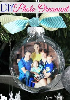 Fill clear ornament with family photo for keepsake ornament