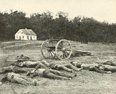 Dead Confederate artillerymen photographed by Alexander Gardner in front of Dunker Church at the Battle of Antietam in Sept, 1862. #civilwar #antietam