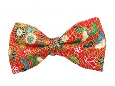 Ready Tied Red Japanese Flower Bow Tie
