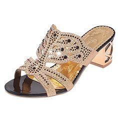 LUCKYCAT Sandales d/ét/é Femme Chaussures de /Ét/é Sandales /à Talons Chaussures Plates Perl/é Boh/ême Sandales D/écontract/ées Pantoufles Toe Dame 2018
