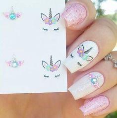 Nail art Christmas - the festive spirit on the nails. Over 70 creative ideas and tutorials - My Nails Unicorn Nails Designs, Unicorn Nail Art, Unicorn Hair, Cute Acrylic Nails, Cute Nails, Pretty Nails, Girls Nail Designs, Cute Nail Designs, Nail Art For Kids