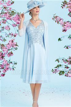 A-Line/Princess V-neck Knee-length Mother of the Bride Dress With Appliques Lace Beading
