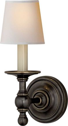 CLASSIC ROUND BACK WALL SCONCE Upstairs hallway sconces in polished or satin nickel $231