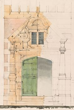 R. Norman Shaw RA, Front entrance for Greenham Lodge, Greenham, Berkshire (detail), drawn by W.R. Lethaby, 1879.