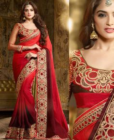 Buy Resplendent Red Designer Sarees online at  https://www.a1designerwear.com/resplendent-red-designer-sarees-4  Price: $52.82 USD