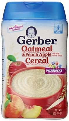 Gerber Baby Cereal, Oatmeal Peach Apple, 8 Ounce (Pack of 6) Gerber http://www.amazon.com/dp/B00BPESXQ8/ref=cm_sw_r_pi_dp_vag7tb1N6GBYE