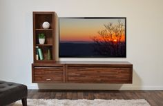Agreeable Wall Mounted Media Console Design In Mocha Together Storage  Bookcase And Steel Pull Cabinet As Well As Modern Style Plus Wooden Material