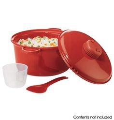 """Microwave Rice Cooker Make perfect rice in your microwave. Yields up to four cups of cooked rice. Rice cooker with cover, 11 1/2"""" L x 8 1/4"""" W x 6"""" H. Plastic. Dishwasher safe. Imported.   4-piece set includes:  • Base container (with adjustable steam valve)  • Locking lid  • Serving spoon  • 3"""" diam. x 2 1/4"""" H measuring cup (holds 1 cup) $9.99"""