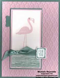 """Handmade card by Michele Reynolds, Inspiration Ink, using Stampin' Up! products - Flamingo Lingo Set (the Ronald McDonald House Charities Set), Fancy Fan Embossing Folder, Petite Curly Label Punch, 3/8"""" Stitched Satin Ribbon, Pearl Basic Jewels, and Moonlight Designer Series Paper Stack."""