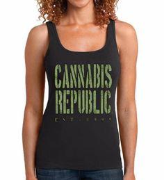 Weed Tank Tops, Womens Tanks-Marijuana Weed Tshirt, Cannabis 'Rugged' graphic-Sport gray, white tank tops, black tank tops(size Sm-3XL) by CannabisRepublicTeez on Etsy