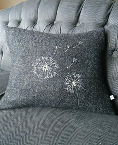 The dandelions have been embroidered onto the cushion. This cushion cover would fit 18 x 14 inch filler (not included). Free Motion Embroidery, Cross Stitch Embroidery, Hand Embroidery, Machine Embroidery, Embroidery Designs, Cushion Embroidery, Embroidered Cushions, Diy Cushion, Cushion Covers