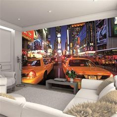 Buy New York Taxi Wall Mural by 1 Wall from I Love Wallpaper - @ I Love Wallpaper stock a wide range of wallpaper including an extensive collection of fashionable wallpapers. Free UK Delivery on orders over 50 Deco New York, Times Square, New York Taxi, Buy Wallpaper Online, Love Wallpaper, Wallpaper Murals, Wallpaper Ideas, Simple Colors, New York Street