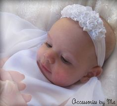 Christening White Roses Flowers Nylon Headband Baptism Flower Baby Infant Girls Accessory Special Occasions Blessing Newborn - 24 Months