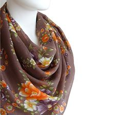 Cotton Scarf, Plum, Shawl, Fashion Accessories, Floral Prints, Amazon, Elegant, Brown, Womens Fashion