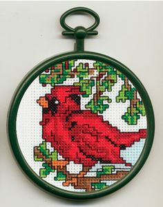 """Cardinal 2.89"""". Counted Cross Stitch Mini Kit contains 18-count Aida Fabric, 6-ply cotton floss, needle, chart, frame and easy-to-follow instructions"""