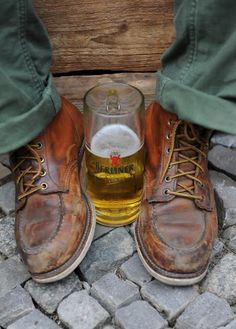 boots and beer Looks like your steel toe boots. Did you pose for this?