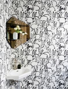 corner mirror // sink + Hutch Cream Wallpaper by Hunt Slonem for Groundworks