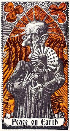 Martin Sharp, The Madonna of the Napalm, 1967. Sharp's poster depicted U.S. President Johnson, U.S. Secretary of Defense, Robert McNamara, the pro-war Australian Prime Minister John Gorton, and the U.S. backed South Vietnamese Prime Minister, Nguyen Cao Kỳ.