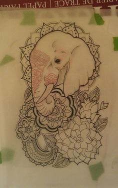 Minus The Lotus Flowers And Henna On Elephant, Sub In A Different Kind Of Flower And Other Surrounding Details For A Less Indian Look. I Basically Like The Angle Of The Elephant. Good For Great-aunt Gladys's Tattoo. Will Put Grandma's Memorial Tattoo Mirroring This. - Click for More...