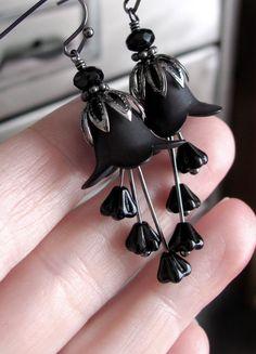 Gothic Black Flower Earrings - Halloween Jewelry, Dark Wicked Earrings, Goth Girl, Rocker Girl, Matte Midnight Black Flower Earrings. $32.00, via Etsy.