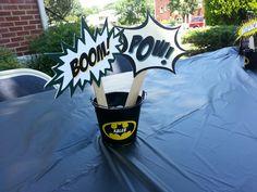 Centerpieces for Kalebs batman theme 1st Birthday party.
