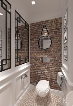 Small Toilet Room, Home, Bathroom Tile Designs, Brick Tiles Bathroom, Bathroom Interior, Bathrooms Remodel, Brick Bathroom, Bathroom Design, Toilet Design