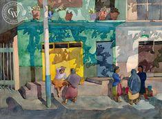 Santa Maria Shadows, 1983, art by Carolyn Lord – California Watercolor