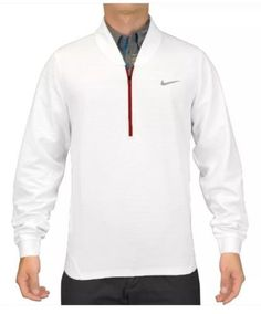 Nike TW Tiger Woods Cypress Half-Zip Pullover Top Size XL White Red 639817-100