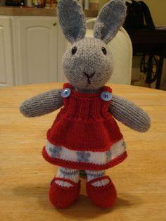 knitted toy rabbit doll-- pattern by Debi Birkin, knitted by me. Knitted Bunnies, Knitted Animals, Knitted Dolls, Crochet Toys, Amigurumi Patterns, Doll Patterns, Knitting Patterns, Knitting Yarn, Baby Knitting