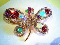 Gorgeous Multicolor Rhinestones With Clear Swarovski Crystal Dragonfly Brooch