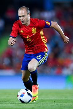 Andres Iniesta of Spain runs with the ball during an international friendly match between Spain and Georgia at Alfonso Perez stadium on June 7, 2016 in Getafe, Spain.