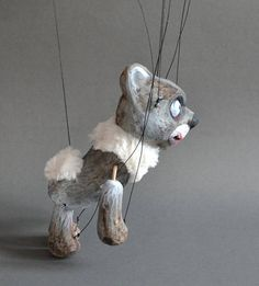 Halloween Black bear marionette. Unique clay puppet