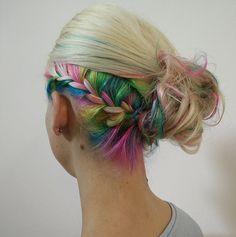 Undercut color is a clever way to balance out your rainbow locks with your natural hair color!