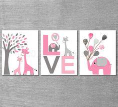 Pink and grey Nursery Art Print Set 8x10 Kids Room by SugarInspire, $39.95