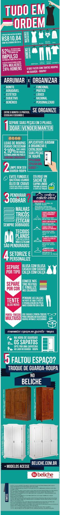 Como organizar seu guarda-roupa? esse infográfico te dá dicas e sugestões do…