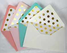 Hey, I found this really awesome Etsy listing at https://www.etsy.com/listing/216834269/gold-foil-dot-lined-envelope-liner