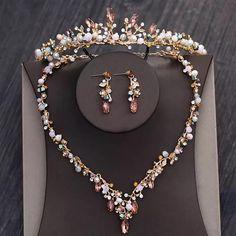Wedding Hair Accessories Rhinestone Diadem Crowns Necklaces Earrings Set. Wedding Jewelry Sets, Wedding Hair Accessories, Vintage Wedding Jewelry, Bridal Jewellery, Vintage Bridal, Cactus Rose, Bridal Necklace, Necklace Set, Beaded Jewelry