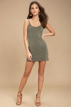 Lulus Exclusive! Looking for comfort and versatility? Look no further than the Fine Day Washed Olive Green Dress! Lightweight jersey knit falls from adjustable spaghetti straps, down to a triangle bodice with low back. Relaxed, sheath silhouette.