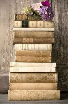 At Pretty Page Turner our favorite cover models are books. We can't get enough beautiful book photography of old books and their vintage bookshelf. Stack Of Books, I Love Books, Books To Read, Old Books, Antique Books, Buch Design, Design Art, Shabby Chic, World Of Books