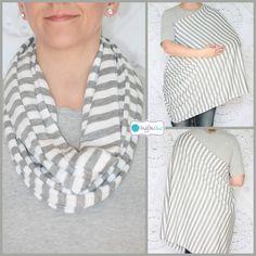 Skinny Gray and White Stripes, Nursing Cover, Infinity Nursing Scarf