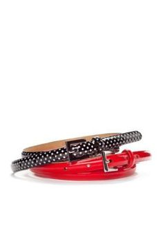 New Directions  Solid Patent  Polka Dot Duo Belt Set