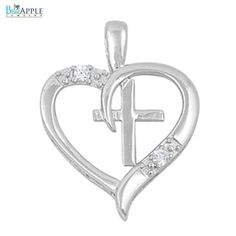 24 mm Open Heart Shape Cross Pendant for Necklace Solid 925 Sterling Silver Round Pave Rhinestone Clear CZ Valentines Mother Day Gift