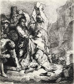The Stoning of Saint Stephen, Rembrandt Harmensz van Rijn, etching, 3 in. Currier Museum of Art. Rembrandt Etchings, Rembrandt Drawings, Rembrandt Art, Amsterdam, Religious Paintings, Religious Art, 17th Century Art, Exhibition, Jan Van Eyck