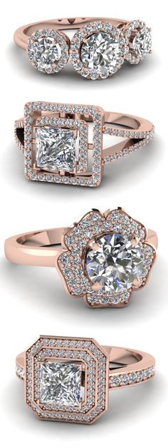 Rose Gold Halo Rings #wedding #engagement #jewelry #fashion