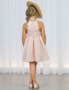 Halterneck dress with bow Nude - Abel & Lula Kids Dress Wear, Dresses Kids Girl, Kids Outfits, Girls Dresses Handmade, Little Girl Fashion, Toddler Fashion, Fashion Kids, Baby Girl Dress Patterns, Baby Dress