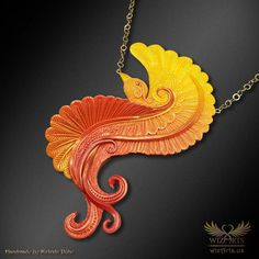 *Phoenix Rising* - A Unique and Magical Art Necklace (Polymer Clay) by wizArts Art Necklaces, Unique Necklaces, High Jewelry, Jewelry Art, Phoenix Necklace, Spiritual Symbols, Phoenix Rising, Polymer Clay Sculptures, Polymer Clay Necklace