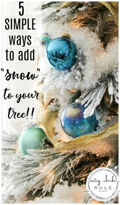 "Have you ever wondered how certain trees just look magically covered in snow? Well, and just magical? Today I'm sharing 5 ways to up your tree game.with ""snow"" so you can have a magical snow covered Christmas tree look too! Dollar Store Christmas, Christmas Past, White Christmas, Christmas Holidays, Christmas Crafts, Christmas Ideas, Christmas Ornaments, Snow Covered Christmas Trees, Snow Flock"