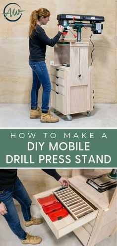 Learn how I made this drill press stand that is on casters so its mobile has drawers with some simple storage organizing built ins and has two adjustable side supports that can be raised to be level with the deck of the drill press table.
